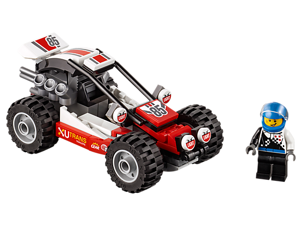 Fire up the powerful LEGO® City Buggy and get ready to race over the dunes, featuring an opening roll cage, big tires and engine, plus a driver minifigure.