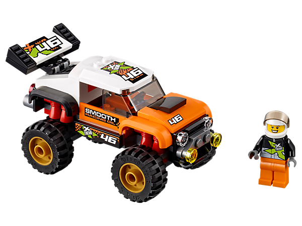 Climb into the LEGO® City Stunt Truck with big rear wing and knobby tires and get ready to do some huge jumps for the crowd! Includes a Stunt Truck driver minifigure.