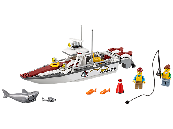 Hop aboard the Fishing Boat and catch some fish, featuring a fishing boat with two motors with spinning propellers, canopy with console, swiveling chair and two minifigures.