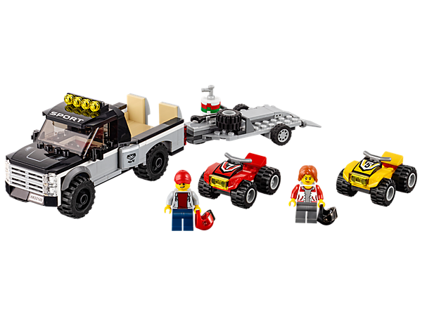Get ready for the next big race with the ATV Race Team, featuring a pickup truck and trailer with adjustable ramps and two ATVs, plus two minifigures.