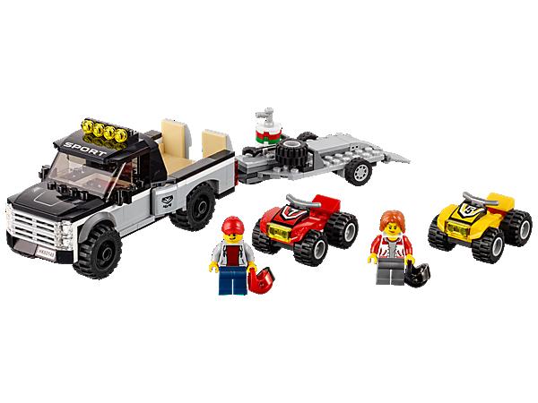 Bereite dich auf das nächste große Rennen mit dem Quad-Rennteam vor. Hierzu enthält das Set einen Pickup mit Anhänger, die beide mit Auffahrrampen ausgestattet sind, und zwei Quads sowie zwei Minifiguren.