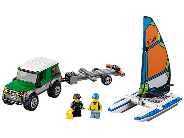 Head to the water with this 4x4 with detachable trailer loaded with a Catamaran with dual rudders and a folding sail. Also includes two minifigures.