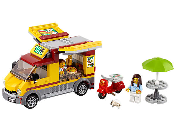 Get ready to serve hungry customers in the LEGO® City Pizza Van, featuring a pizza van with opening sides and kitchen space, table with parasol, scooter, plus two minifigures.