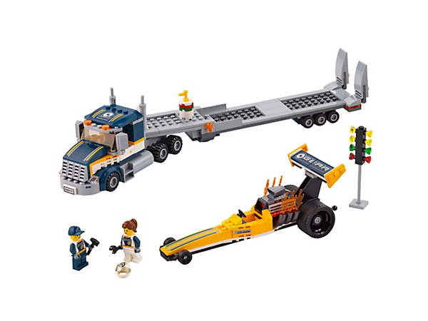<p>Load up the Dragster Transporter and head out to the track, featuring a truck with trailer, dragster with an extended wing and a light signal, plus two minifigures.</p>