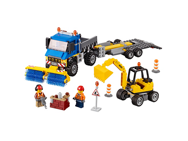 Head into the city with the LEGO® City Sweeper & Excavator and get the rubble off the road, featuring a truck with sweeper brushes, trailer and excavator, plus two minifigures.