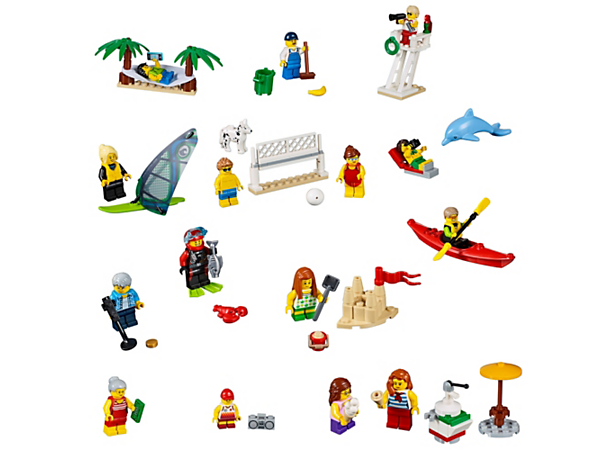 Enjoy fun on the beach with this great collection of LEGO® City residents, plus a lifeguard tower, ice cream stand, 15 minifigures, plus dog, dolphin, lobster and fish figures.