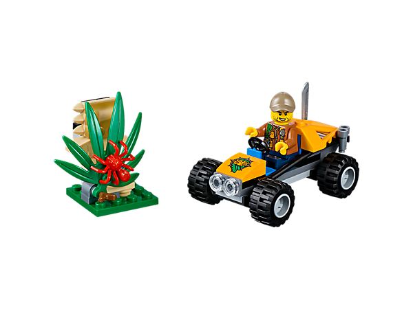 Head out to explore the mysterious LEGO® City jungle in the Jungle Buggy, featuring a statue with moving leaf and hidden diamond element, plus a spider figure and a minifigure.