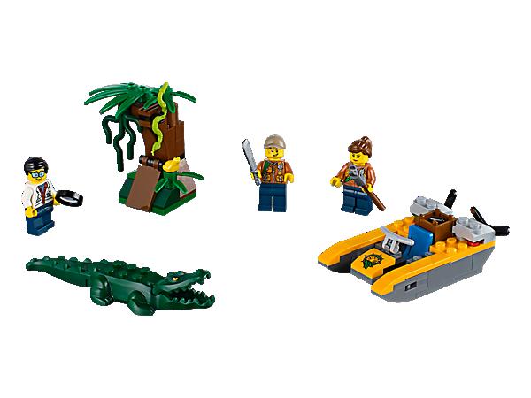 Rejs ned ad floden i LEGO® City junglen, og find fantastiske ting i dette sæt med båd, træ med skjult skat, tre minifigurer samt slange, frø og krokodille.