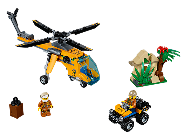 Head into the jungle with the LEGO® City Jungle Cargo Helicopter, featuring spinning rotors and a winch, plus an ATV, temple, hidden treasure, spider figure and 2 minifigures.