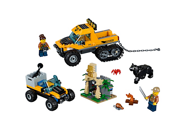 Head out on a daring jungle mission, featuring a truck with back wheel tracks and a chain, an ATV, buildable temple, 2 minifigures, and panther and spider figures.