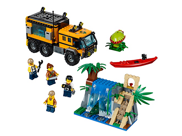Make a big discovery with the Jungle Mobile Lab, featuring a truck with lab, waterfall and temple with hidden treasure, kayak, 4 minifigures, and crocodile and spider figures.