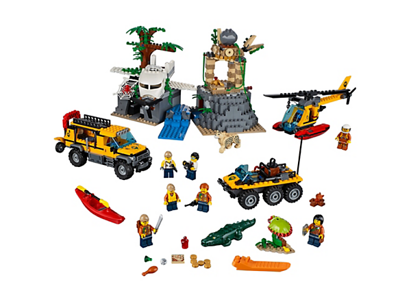 Find the treasure and explore the temple ruins in the LEGO® City jungle, featuring 4 vehicles, 7 minifigures, plus leopard, crocodile, snake, frog and 2 spider figures.