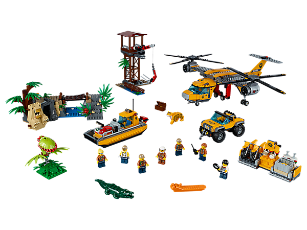 Deliver gear with the Jungle Air Drop Helicopter, featuring a clamp system, work tower, riverboat and 7 minifigures, plus tiger, crocodile and 2 spider figures.