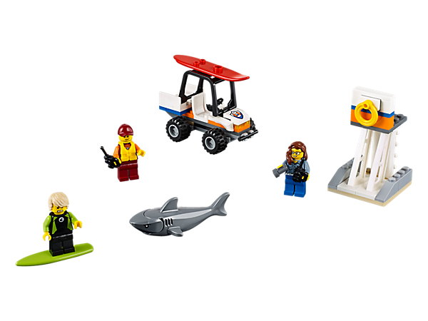 Race to the rescue with the LEGO® City coast guard in the beach buggy with opening roll cage, plus 2 surfboards, beach tower, 3 minifigures and a shark figure.