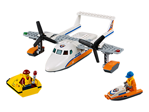Make a daring LEGO® City rescue in the Sea Rescue Plane, featuring spinning rotors, opening cockpit and lowering back ramp, plus a water scooter, raft and 2 minifigures.