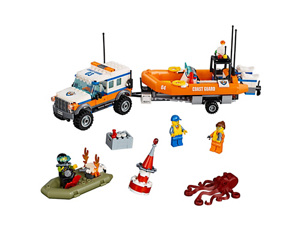 Pull the diver to safety with the LEGO® City 4x4 Response unit, featuring a 4x4 truck with trailer, detachable rescue craft, dinghy, 3 minifigures and an octopus figure.