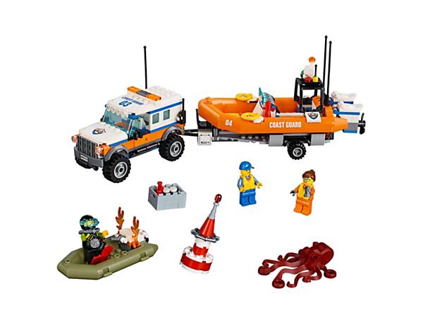 Odvez potápěče do bezpečí s pomocí Vozidla zásahové jednotky 4x4 LEGO® City. Obsahuje terénní vozidlo 4x4 s přívěsem, odnímatelné záchranné plavidlo, člun, tři minifigurky a figurku chobotnice.