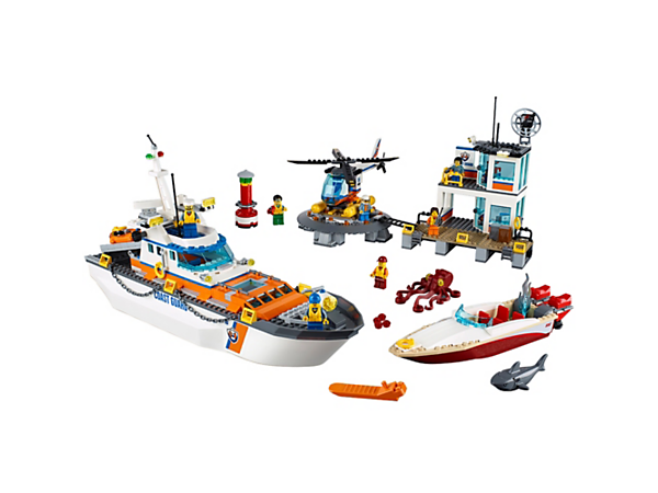 Save lives from the 2-level LEGO® City Coast Guard Headquarters, plus a ship with opening bridge and deck, helicopter, speedboat, 7 minifigures, shark and octopus figures.