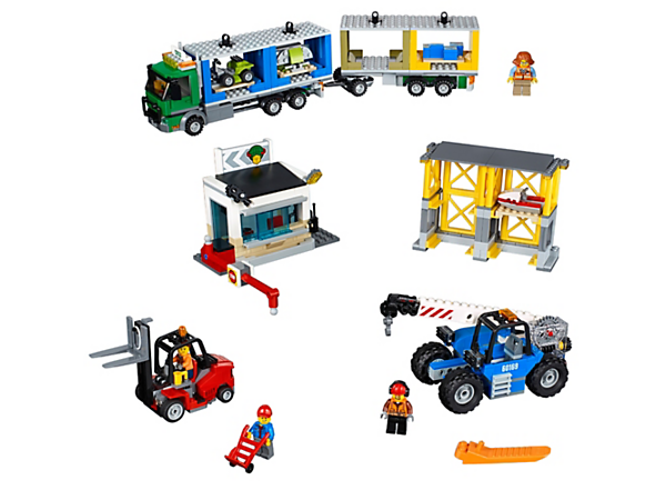 Load up the truck with containers for a delivery from the LEGO® City Cargo Terminal, featuring a forklift, telehandler, gatehouse, pallet storage area and 4 minifigures.