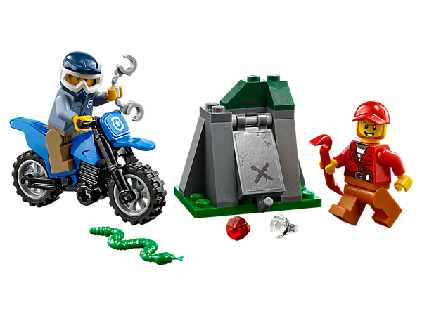 Grab your handcuffs and get ready for an Off-Road Chase, featuring a motocross bike with knobby tires and kickstand, hideout with loot space, 2 minifigures and a snake figure.
