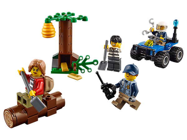 Grab your handcuffs and chase after the Mountain Fugitives, featuring a police ATV with radio and chain element, tree hideout with loot space, beehive and 4 minifigures.