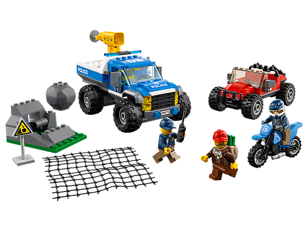 Get behind the wheel and head into the mountains with this Dirt Road Pursuit set, featuring a police 4x4 with net shooter, police motocross bike, crook's 4x4, rockslide element and 3 minifigures.