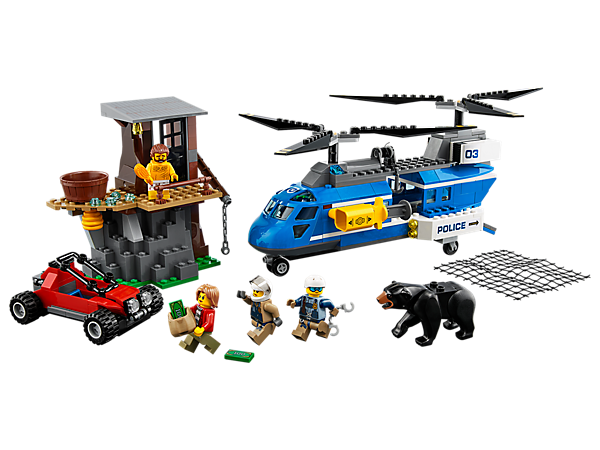 Deliver justice with a Mountain Arrest, featuring a 2-level hideout with bathtub, police helicopter with net shooter, winch and string, crooks' vehicle, 4 minifigures and a bear figure.