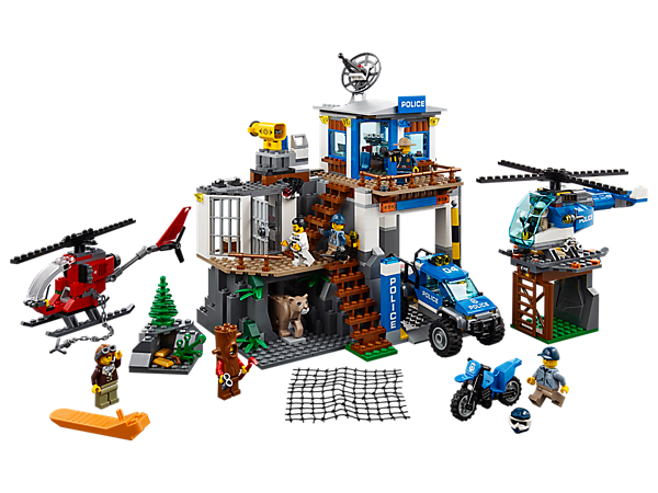 Chase down the crooks and lock them back up at the Mountain Police Headquarters, featuring a 2-level station with breakout jail cell and net shooter, 4 vehicles, 7 minifigures and a mountain lion figure.