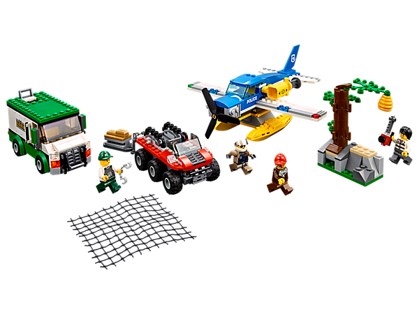 Fly in and recover the gold from the Mountain River Heist, featuring an armored truck, seaplane with net shooter, amphibious vehicle, falling tree and 4 minifigures.