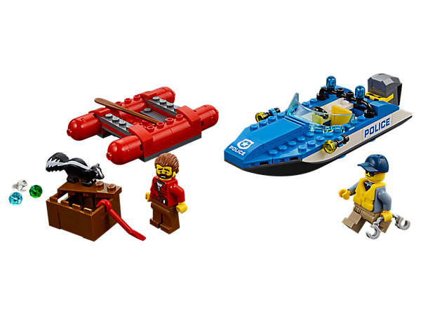 Strap on your life vest and catch the crook before he makes a Wild River Escape, featuring a speedboat with outboard motor, raft with paddle, 2 minifigures and a skunk figure.