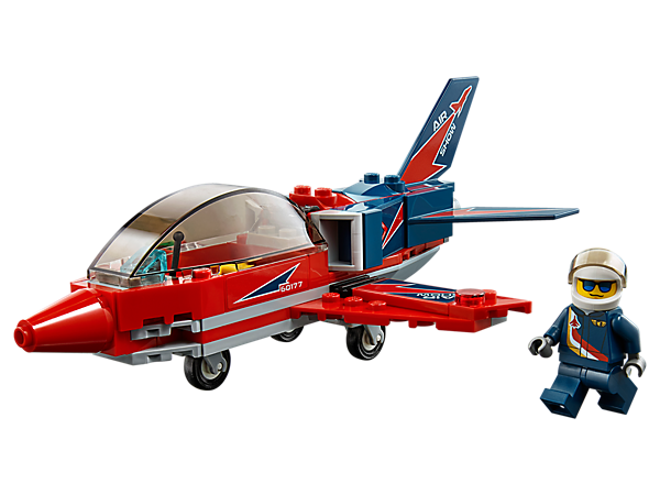 Show the people what the Airshow Jet can do at high speed, featuring an opening cockpit, bright racing colors and cool decorations, landing gear and a minifigure.