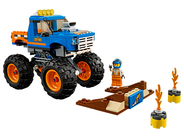 Climb behind the wheel of the awesome LEGO® City Monster Truck, featuring massive wheels, cool detailing and working suspension, plus a buildable ramp and a minifigure.