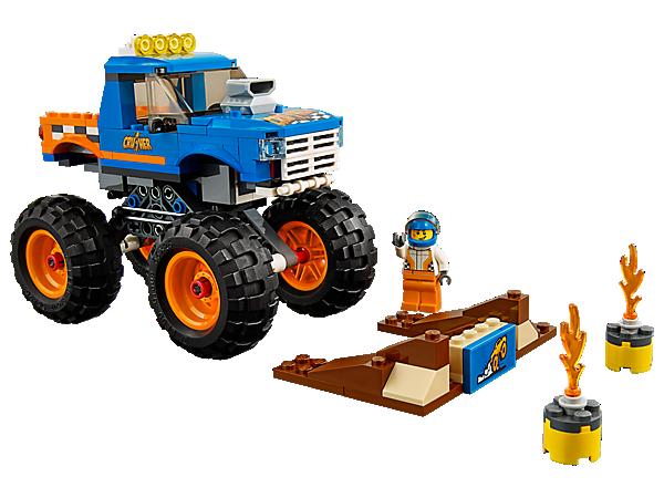 Klettere hinters Steuer dieses gigantischen LEGO® City Monster-Trucks, mit massiven Rädern, coolen Details und funktionierender Federung sowie einer baubaren Rampe und einer Minifigur.