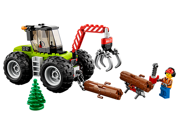 Grab your chainsaw and head out to clear up after the storm with the Forest Tractor, featuring massive wheels and opening claw, small log stand, 2 buildable logs and a minifigure.