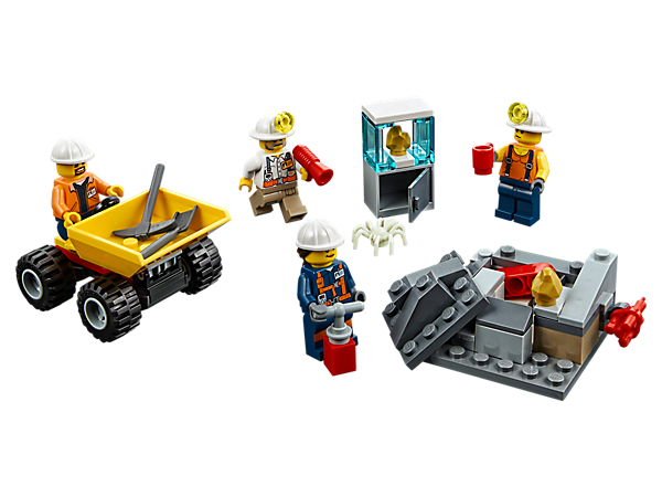 Hunt for gold in the LEGO® City mines with the Mining Team! Set includes a dumper with tipping bed, rock pile, research station, plus 4 minifigures and a spider figure.
