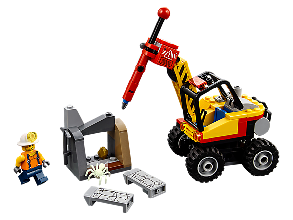 Dig up the LEGO® City mines with the Mining Power Splitter set, featuring a power splitter with jackhammer function and rotating cab, plus a breakaway rock, spider figure and a minifigure.