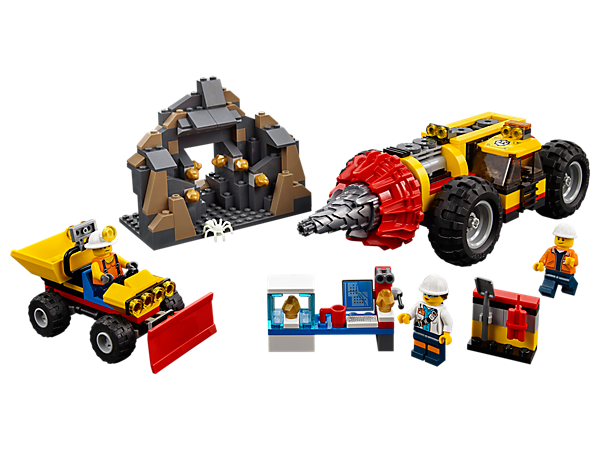 Drill into the rock in the mine cave to find the gold! Set includes a spinning heavy driller, shovel loader with bed, mountain cave, lab, 3 minifigures and a spider figure.