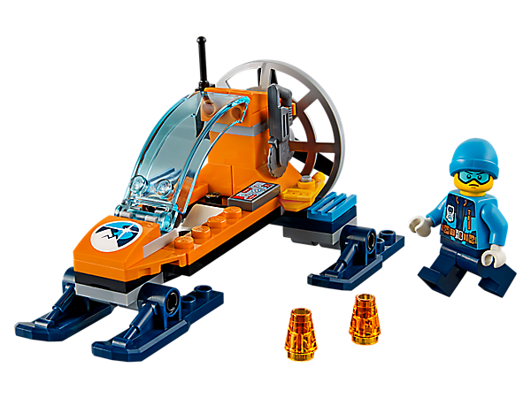 Make cool discoveries in the Arctic Ice Glider, featuring an opening cockpit and spinning rotor, plus 2 tracker beacons, computer pad, radio, saw, snowshoes and a minifigure.