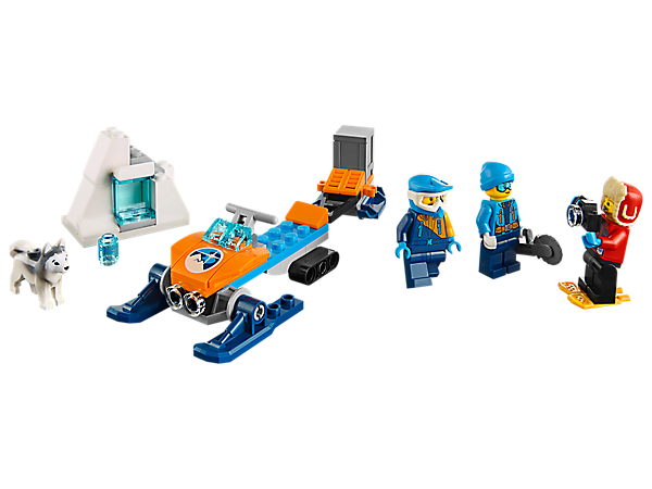 Recover a cool artifact from the ice with the Arctic Exploration Team and haul it back to base, featuring a snowmobile, detachable trailer and ice block, plus 3 minifigures and a dog figure.