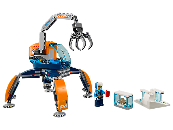 Walk across hard terrain with the Arctic Ice Crawler, featuring an articulated arm and posable legs, plus an ice block with removable section, a minifigure and a rodent figure.