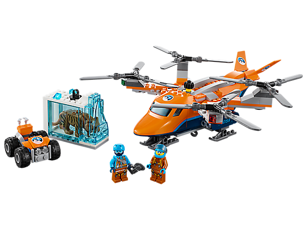Haul in discoveries with the Arctic Air Transport, featuring a quadrocopter with 4 rotors and winch, plus an ATV, ice block with 'frozen' saber-toothed tiger, and 2 minifigures.