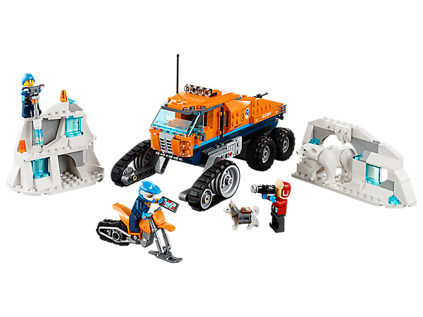 Retrieve samples from the tundra with the half-track Arctic Scout Truck, snow bike, ice wall and an ice cave. Includes 3 minifigures, plus polar bear and dog figures.