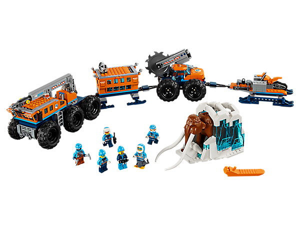 Explore, discover and analyze at the Arctic Mobile Exploration Base, featuring a crane, trailer, platform, mobile saw, lab and a snow bike, plus 6 minifigures and a mammoth figure.