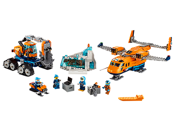 Bring the secrets of the ice back to the city aboard the Arctic Supply Plane with opening hold, plus an ice cutter with articulated saw arm, 4 minifigures and a saber-toothed tiger figure.