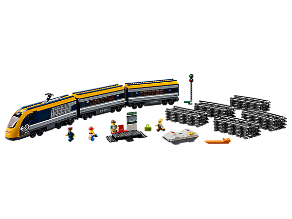 Control the smooth-riding LEGO® City Passenger Train, featuring a motorized engine with 10-speed Bluetooth remote control, 2 cars, circular track, buildable platform and signal, plus 4 minifigures.
