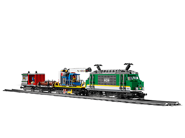 Carry heavy goods into LEGO® City with the motorized Cargo Train, featuring 4 train cars, 33 track pieces, a control center, money transport truck and a forklift, plus 6 minifigures.