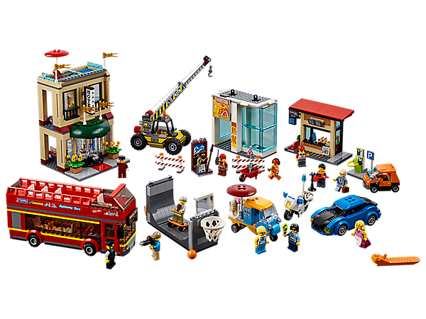 <p>Tour through LEGO® City's downtown Capital City including a 2-story hotel, museum construction site, kiosk, charging station, 6 vehicles, a skate ramp with hoop and 13 minifigures.</p>