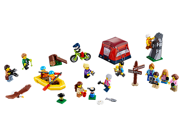Head out into nature with this fun collection of outdoor-themed LEGO® City residents, plus a mountain bike, tent, mountain wall and dinghy, 14 minifigures and baby and eagle figures.