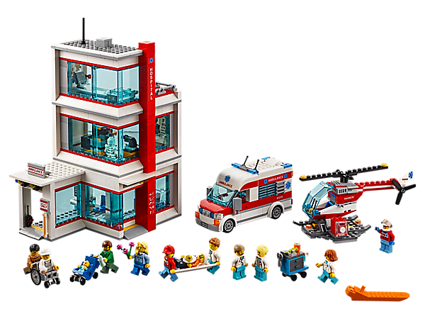 Help citizens in need at the modular LEGO® City Hospital, featuring an operating room, x-ray room with light brick, ambulance, helicopter, 11 minifigures, and skeleton and baby figures.