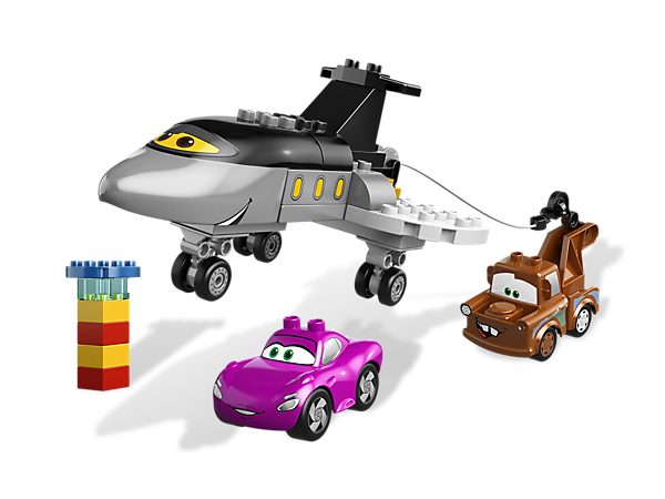 Use Siddeley's wind-up hook to rescue Mater and Holley Shiftwell from Disney/Pixar Cars in a LEGO DUPLO building adventure!